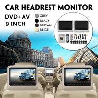 9 дюймов подголовник автомобиля монитор DVD + AV пульт дистанционного управления для плеера с кабелем комплект Автомобильная подушка ЖК монит
