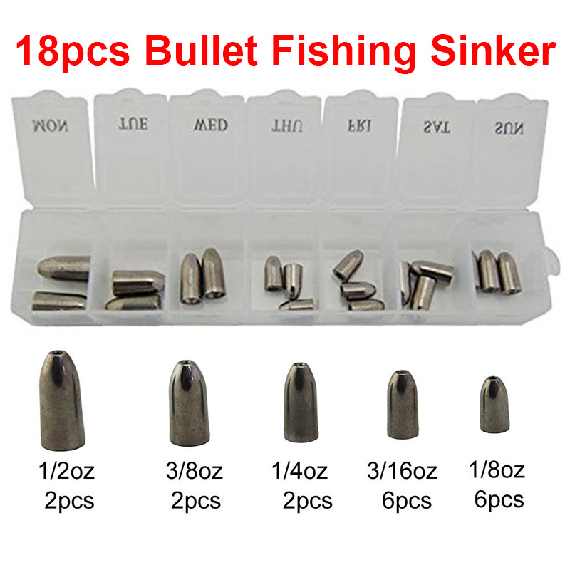 18pcs 100% Tungsten Bullet Fishing Sinker For Texas Rig Plastic Worm Weights Casting Barrel Sinkers Set With Box Fishing Tackle