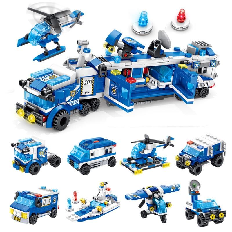 Meilleure vente nouvelle série de police commande voiture patrouille machine enfants puzzle lutte pour insérer de petites particules bâtiment jouets magasin
