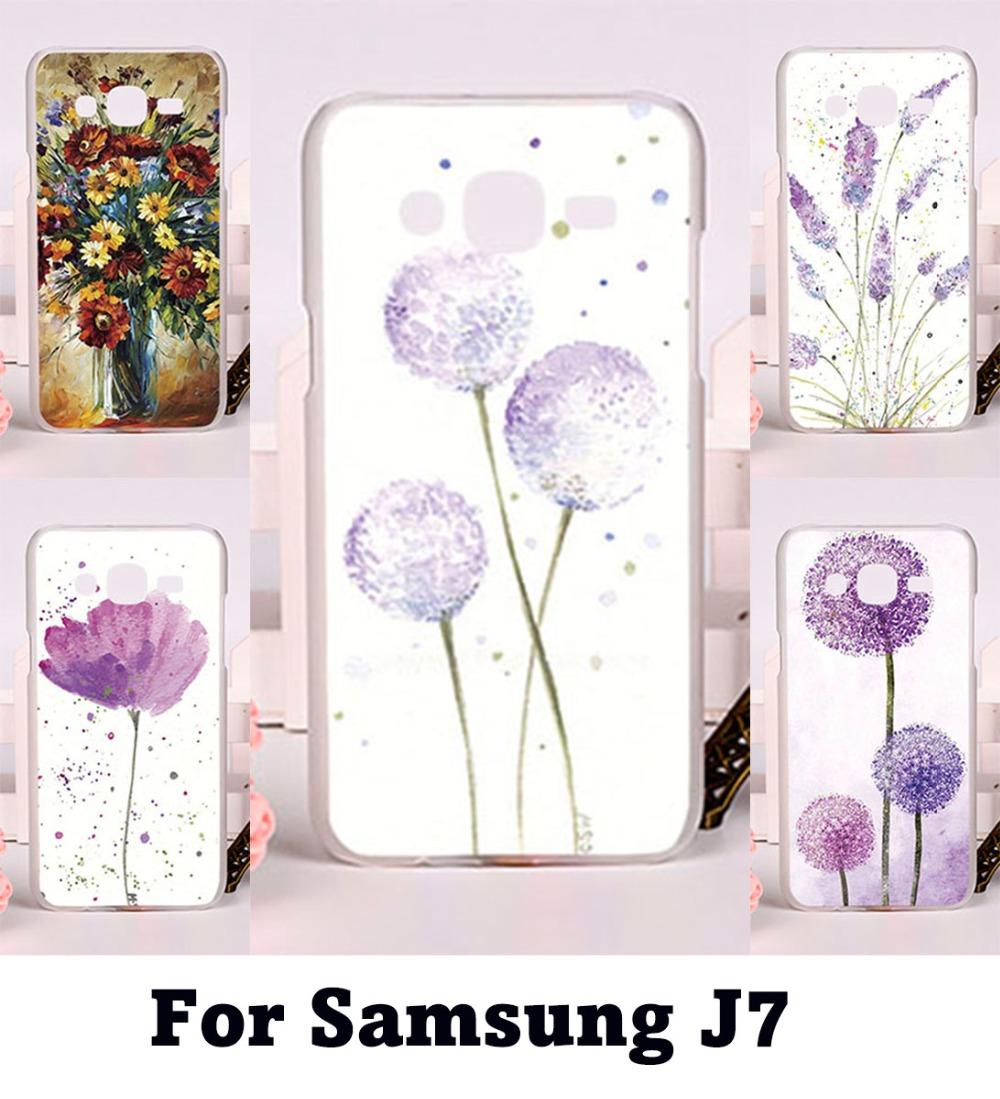 Flexible Plastic and Silicon Cell Phone Covers For Samsung Galaxy J7 2015 J700 Cases Watercolor Floral