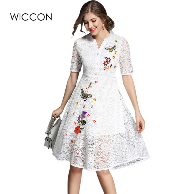 6518b75f75602 Women Floral Butterfly Lace Dresses Short Sleeve Casual Soild Color Blue  Pink White Party Knee Length Dress Vestidos WICCON