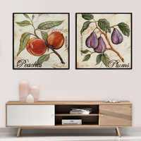 Watercolor Pear Apple Plum Peach Fruits Wall Art Canvas Painting Nordic Posters and Prints Wall Pictures for Living Room Decor