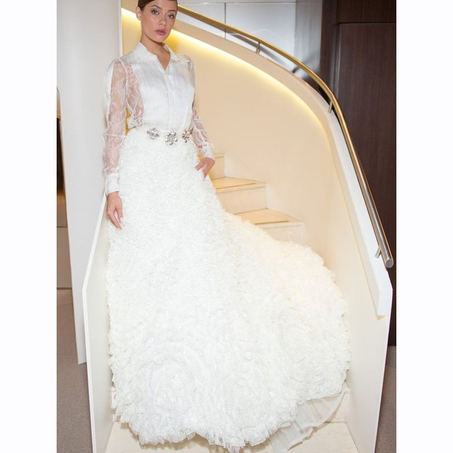 2016 Newest Couture Wedding Dresses Sheer Sleeves Crystal Pearls Shirt Collar Ruched Transparent Lace Back Floral