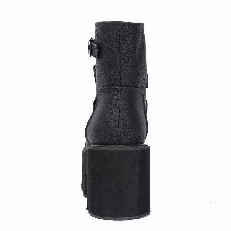 Prova perfetto Bahar yarım çizmeler Kadın Platformu Botları Kauçuk Taban Toka Siyah Deri PU Yüksek Topuklu Ayakkabılar Kadın Rahat