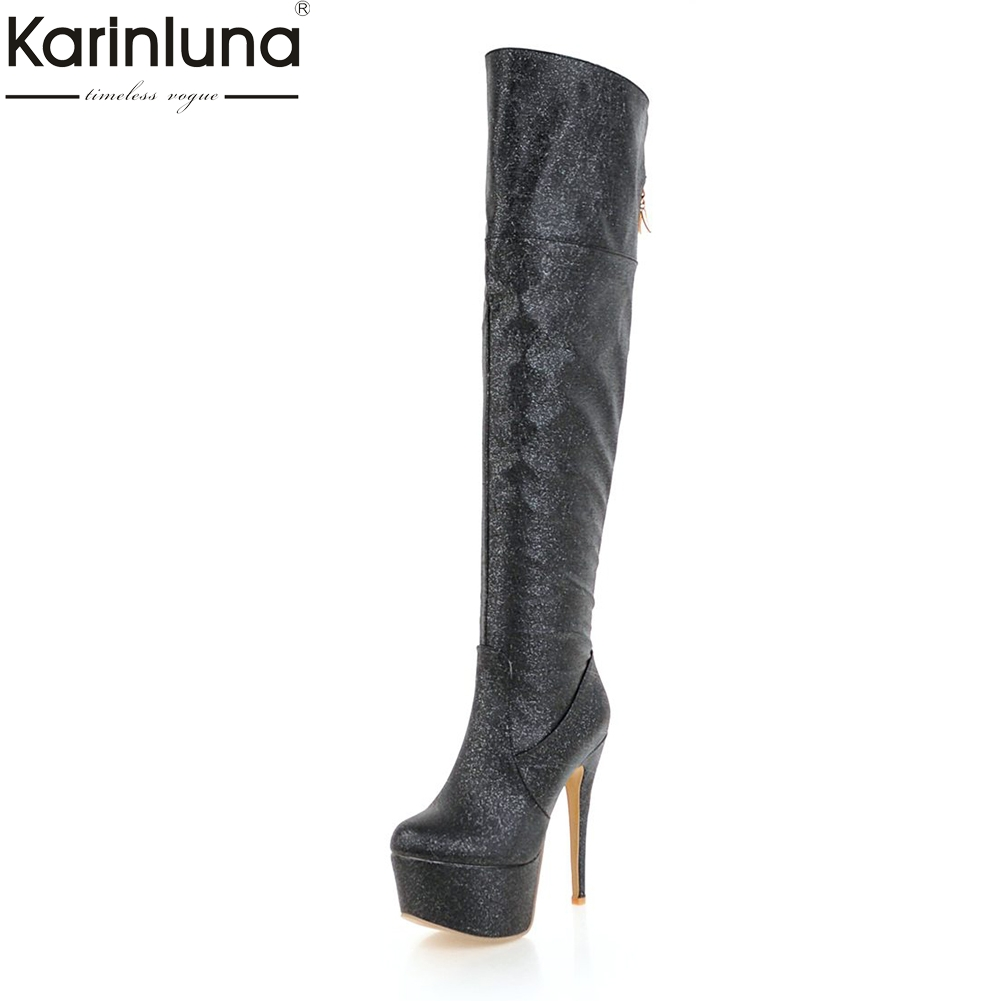 KARINLUNA 2018 Plus Size 33-48 Thin High Heels Platform Boots Woman Shoes Zip Up Over The Knee Boots Party Long Boots Women цена