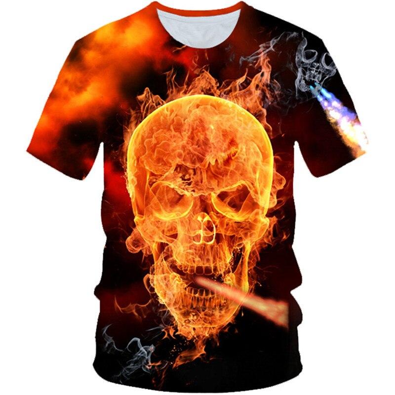 2019 Summer Children Punk Style 3D T-shirt Boys Girls Funny Burning Fire Skull Smoking Snake Print T shirt Kids Tshirts Tops(China)