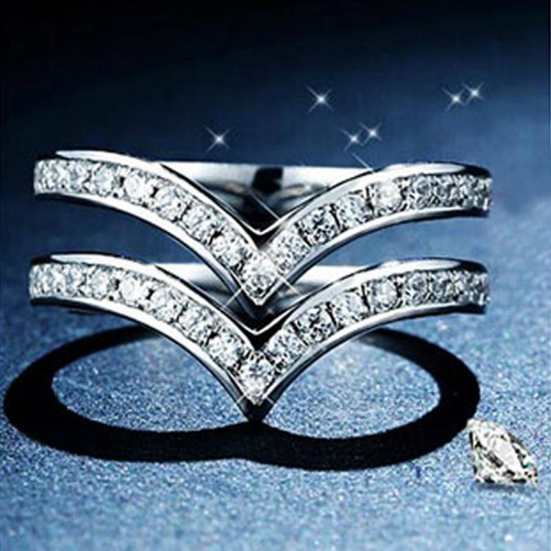 5A haute qualité Zircon cubique bagues de fiançailles pour les femmes pur argent blanc or couleur classique Double couche en forme de V anneaux