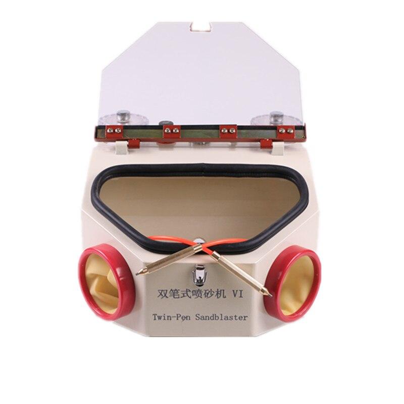 Unità dentale Twin-penna Sabbiatura, Dental lab twin-penna metallo sabbiatura macchina, elettrico macchina sabbiatura, Sandblaster Penne