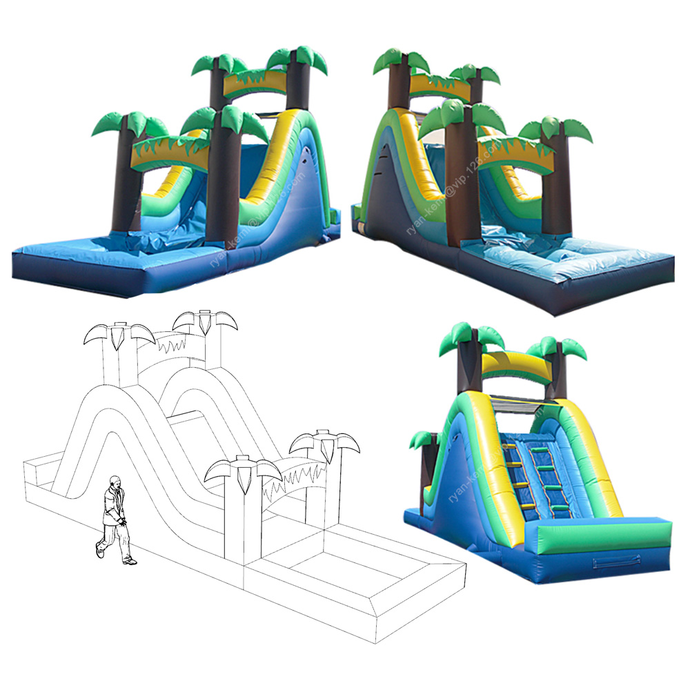 32ft single lane tropical style green palm inflatable water slide with pool for adults kids commercial inflatable wet slide32ft single lane tropical style green palm inflatable water slide with pool for adults kids commercial inflatable wet slide