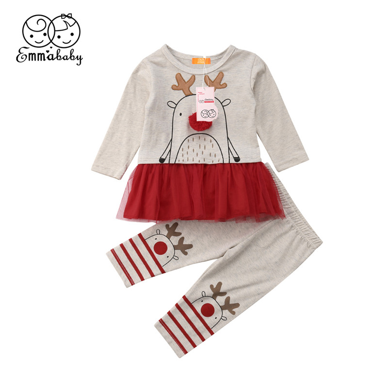 Cute Xmas Children Child Women Lengthy Sleeve Lace Tutu Gown Tops Lengthy Striped Leggings 2018 Latest Christmas Deer Child Clothes Units Clothes Units, Low cost Clothes Units, Cute Xmas...