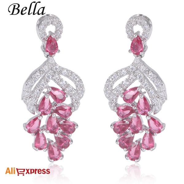 Bella Fashion Lovely Pink Dangle Earrings Plant G Top Quality Cz Diamond Drop In From Jewelry Accessories On