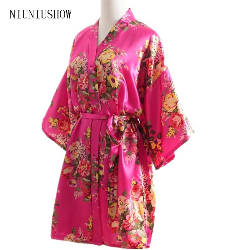 New Hot Sale Hot Pink Summer Women Silk Nightgown Bridesmaid Wedding Robe Dress Peony Printed Kimono Yukata Gown One Size T88