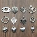 20 штук сердца Подвески старинное серебро Цвет небольшие ювелирные кулоны «сердечко» DIY сердечными амулетами для браслет ювелирных изделий