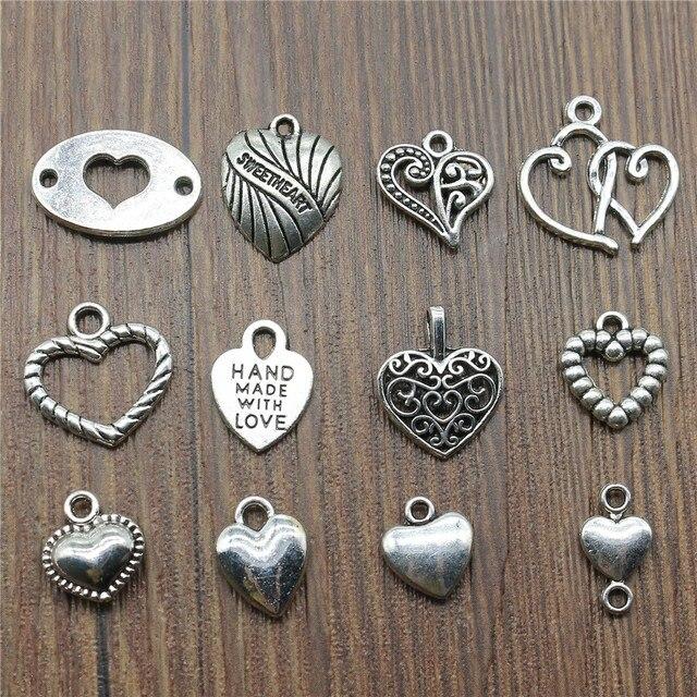 20pcs/lot Hearts Charms Antique Silver Color Small Heart Charms Jewelry Diy Heart Charms For Bracelet Making