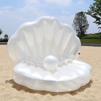 Pool Rafts Floating Row Inflatable Shell Lovers Playing Water Toy Floating Mattress Swimming Pearl Shell Inflatable Cushion