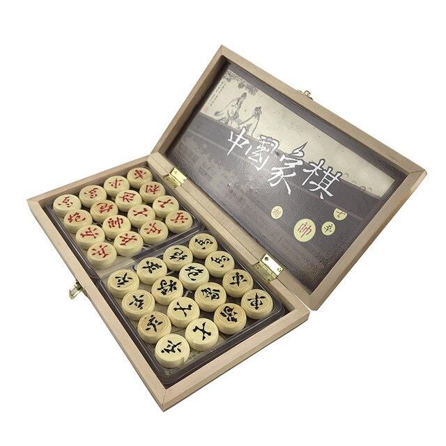 Jeu d'échecs chinois, jeu de société pliable en bois 29.5x27.5x1.3 CM, boîte chinoise, pièces en bois 4