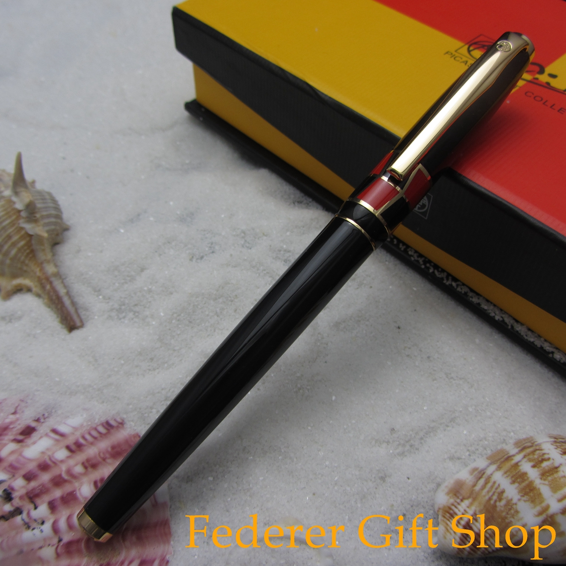 Picasso P923 Braque Series Black Fountain Pen Gift The School Office Supplies Metal Case Ink Pen F Nib 3 Color Optional high quality monte mount snake clip f nib metal office gift fountain pen
