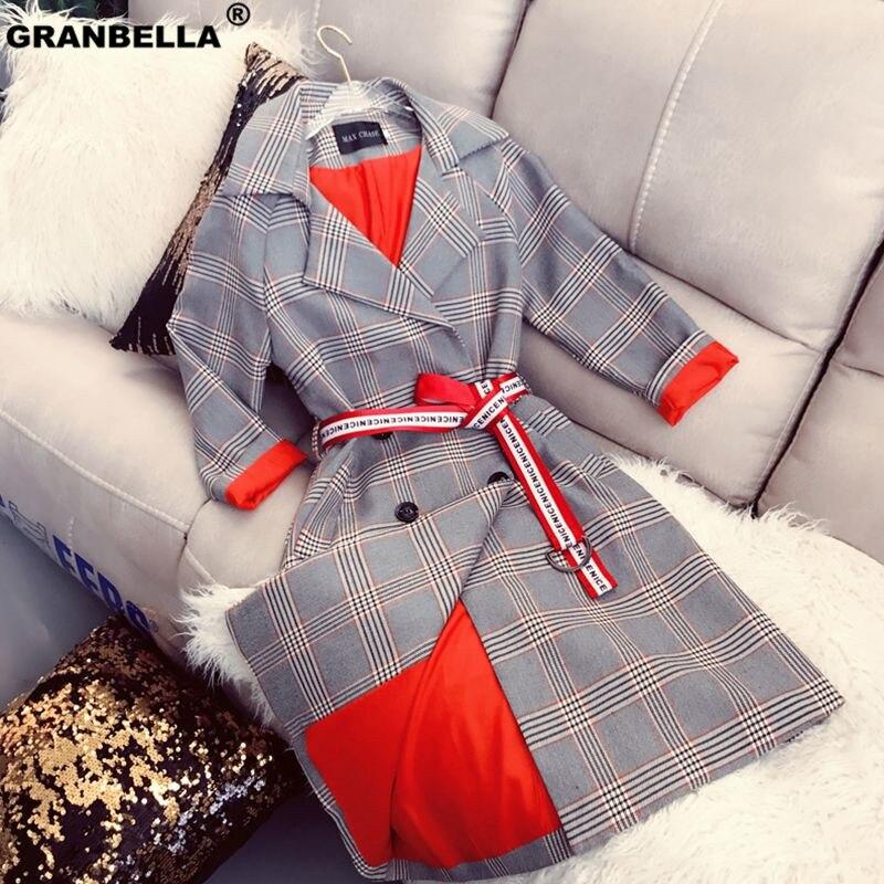 New Spring Fashion Female   Trench   Coat Medium-long Long Sleeve Vintage Plaid Outwear Turn-down Collar Women Windbreaker Casual