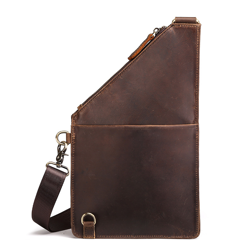 Vintage Crazy Horse Genuine Leather Brand Messenger Bag High Quality Men Shoulder Crossbody Bags Fashion Casual Chest Cag  Mens contact s brand 2018 hot genuine crazy horse cowhide leather men messenger bag high quality shoulder bag for vintage travel bag