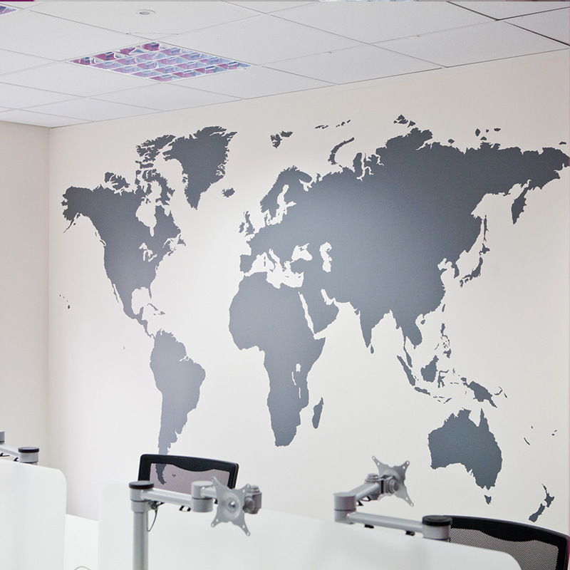 King Size World Map Glass Door Sticker Bedroom Living Room Art Walls Wall Stickers Home Decor Sticker Mural