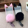Caudas de Gato Orelha de Coelho encantador transparente Pele Caso TPU Aleta capa Para Iphone5s 6/6 mais 7/7 mais transparente caixa do telefone de silicone caso
