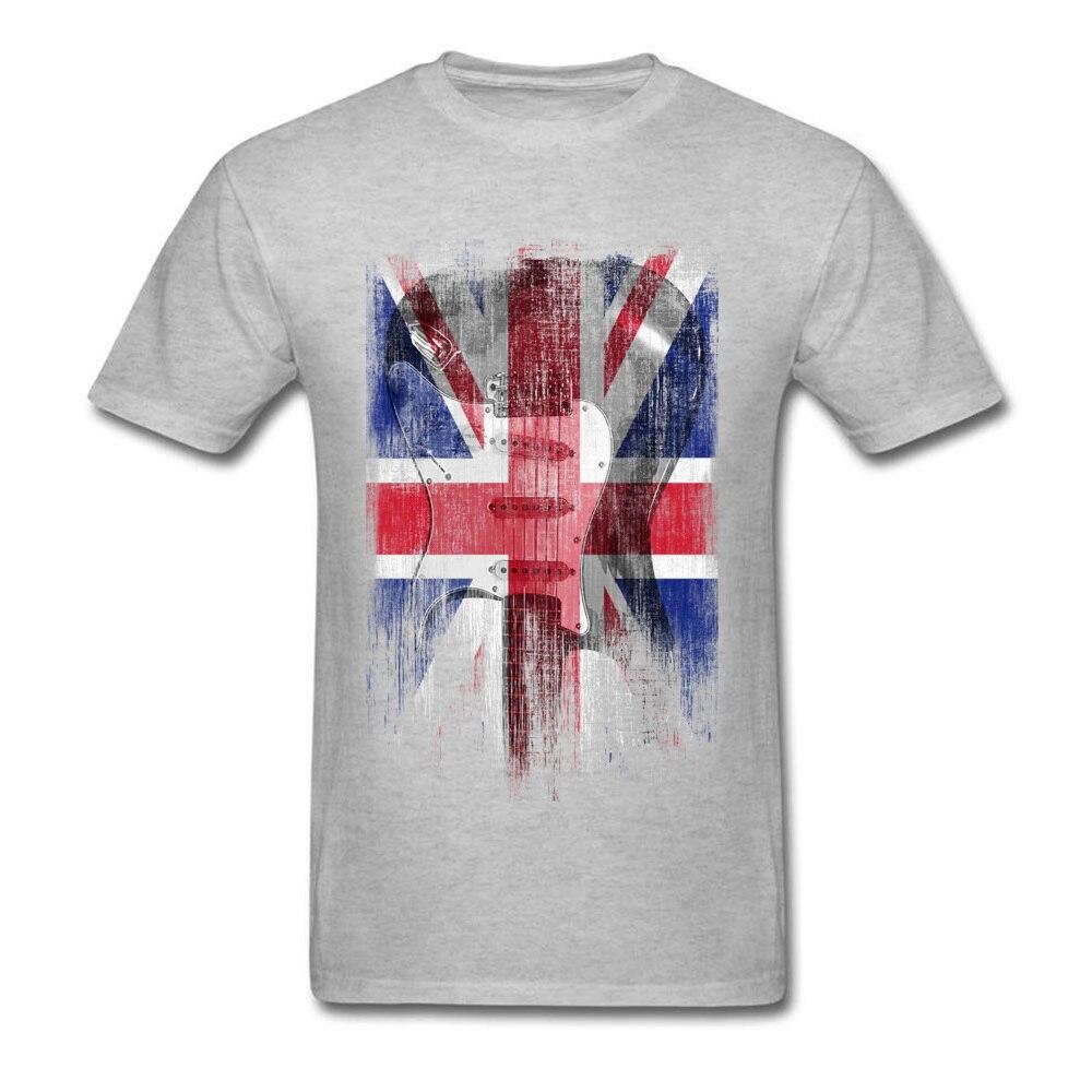 Distress Guitar flag United Kingdom Crew Neck Top T-shirts ostern Day Design Tops Shirt 2018 Newest Cotton Fabric Tee Shirts Men Distress Guitar flag United Kingdom grey