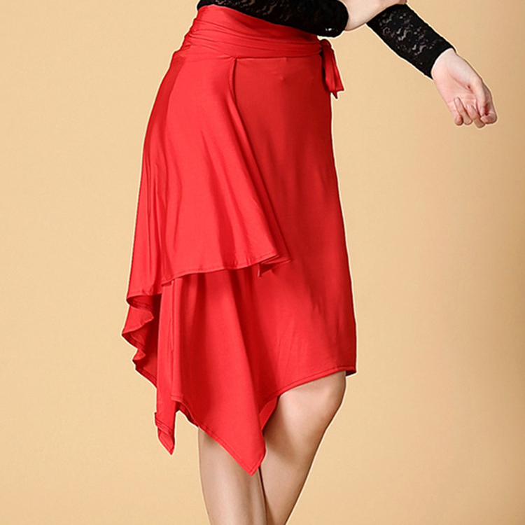 Latin Dance Dress Red Black Irregular Skirt Cha Cha Rumba Samba Tango Dresses For Dancing Practice Performamnce Dancewear