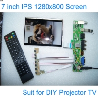 E&M 7 inch DIY Projector TV 1280*800 LCD Module Screen Monitor USB Mp4 Player DIY 1080P VGA AV Raspberry Pi 3 with Remote