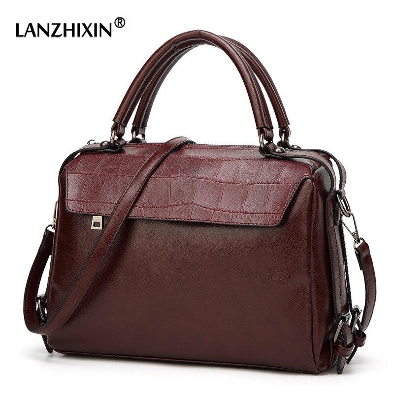 LANZHIXIN Women Leather Handbags Women Retro Tote B