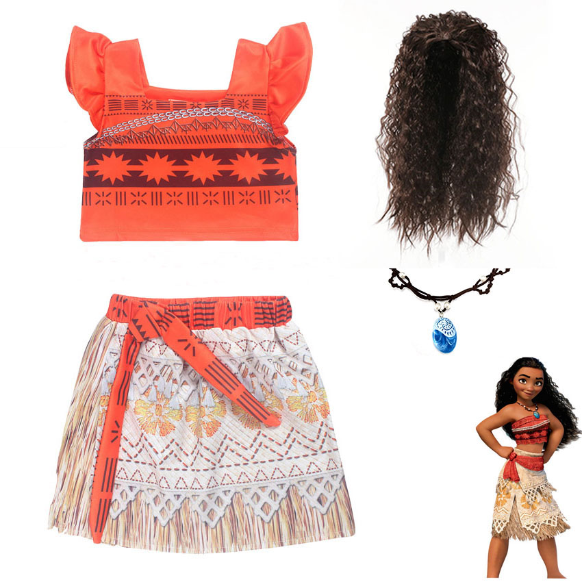 Moana Dress for Girls Vaiana Princess Dresses Kid Party Costumes Vestido Infantil With Wig Necklace Little Girl Fantasy Clothes long hair princess sofia dress warm butterfly purple performance evening party chrismas new year girls costumes kid clothes