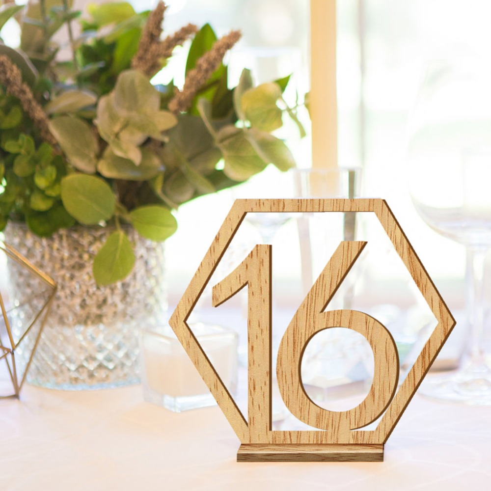 1 20/ 1 40pcs Table Numbers Wedding Hexagon Signs Table Number Wooden Table Numbers Rustic Wedding Engagement Seat Numbers Sign|Party Direction Signs| |  - title=