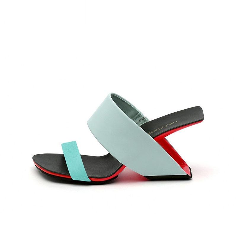Glisser sandale talon étrange pantoufles femmes été talon haut gladiateur Wedge Sandalias Mujer 5 couleur HL146 MUYISEXI-in Pantoufles from Chaussures    2