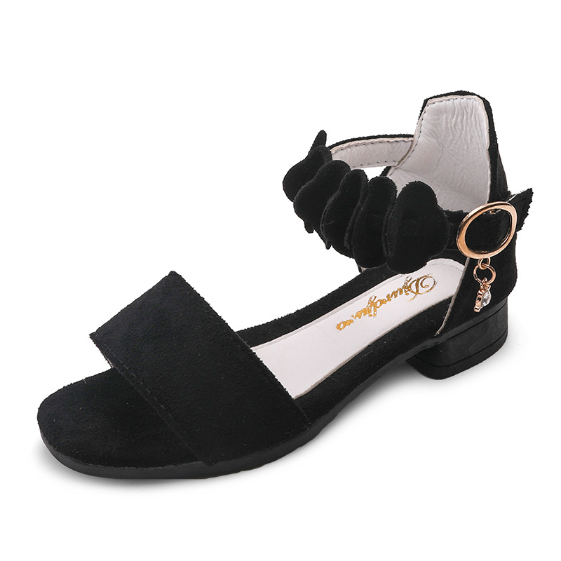 Flower High Heel Girl Princess Sandals Fashion Sport Children Girls Black Kids Summer Beach Shoes 4 5 6 7 8 9 10 11 12 Year Old