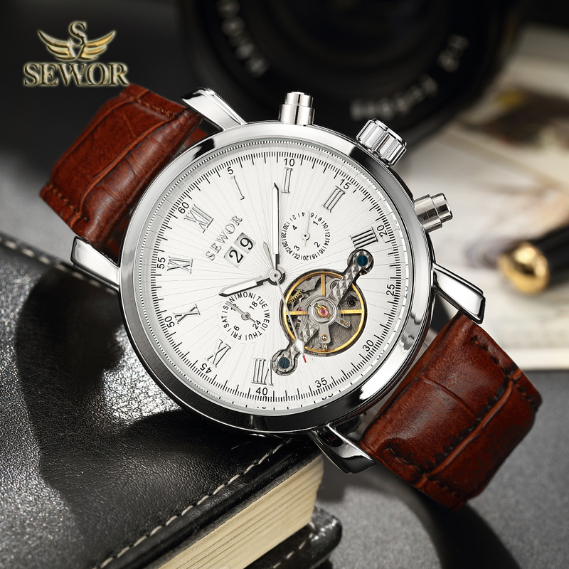 SEWOR Luxury Brand 2018 New Fashion Brown Leather Watch Band Silver Tourbillon Automatic Mechanical Men Sport Wrist Watch C397 все цены