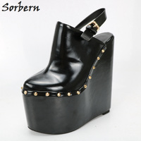 Sorbern черный масло Pu Женская обувь на платформе слинбэки на высоком каблуке и платформе острый носок женская обувь Crossdresser Plus Размеры платье о