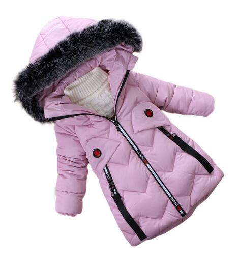 2017 Winter More Fashionable Cotton-padded Clothing Coat Children's Wear Jacket of The Girls Baby Thick Warm Winter Clothes sky blue cloud removable hat in the long section of cotton clothing 2017 winter new woman