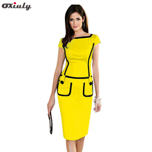 Oxiuly Elegant Blue Purple Yellow Short Sleeve Pencil Dress Fashion Lady Wear to Work Knee Length Business Party Sheath Dress