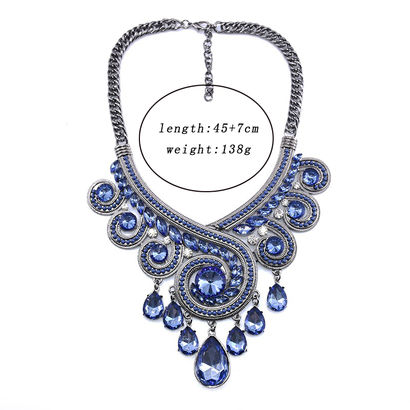 PPG & PGG Bohemia Chunky Chainky Statement Women Blue Crystal - Модні прикраси - фото 2