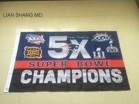 3x5ft New England Patriots 5X Super Bowl Champions Flag 90x150cm Digital Print Banner With 2 Metal