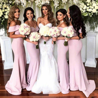 New Design Mermaid Bridesmaid Dresses Long Off Shoulder Formal Dresses Formal Wedding Maid Of Honor Dress Cheap Dress