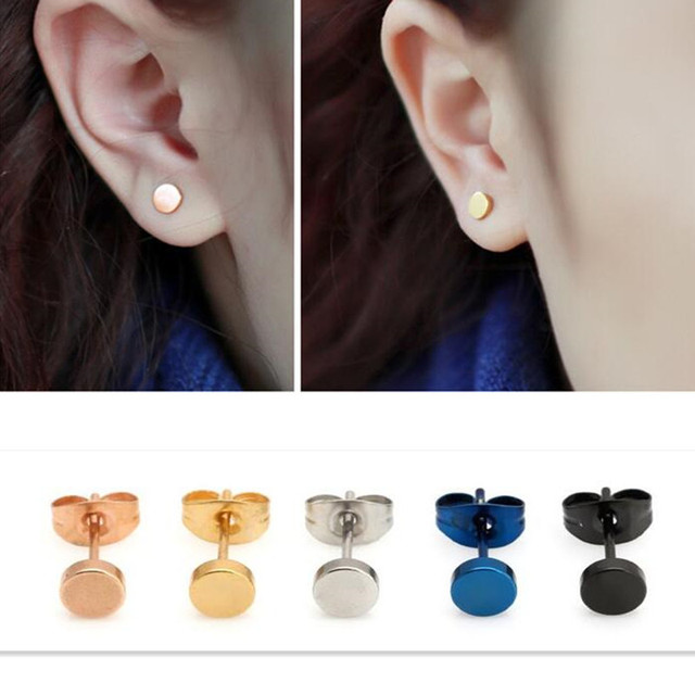Newest Medical Anium Steel Earrings Allergic Fine Needle Round Cake Small Gold Beans Rose Women