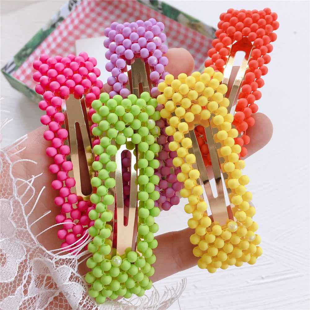 Korea Fashion Fluorescent Color Frosted Beads Fairy BB Clip Student Girl Simple Cute Beading Beautiful Hairpins Hair Accessories