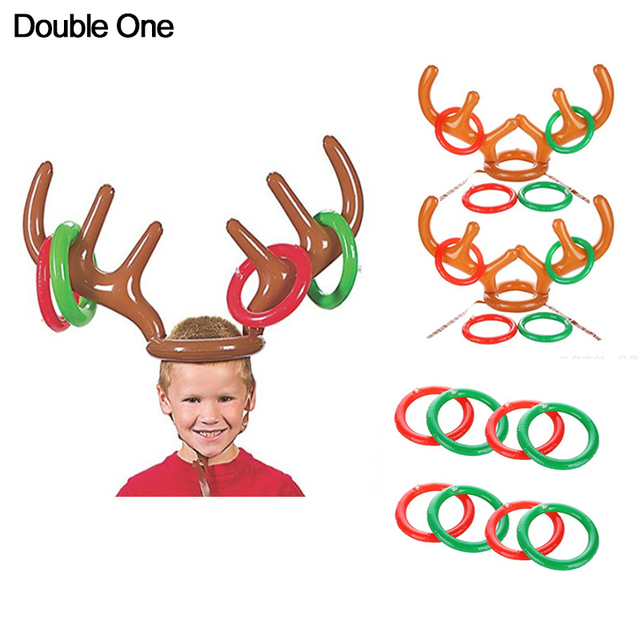 Christmas Inflatable Reindeer Antler Hat With Rings Hats Xmas Party  Supplies Children Kids Toys Jewelry Gift