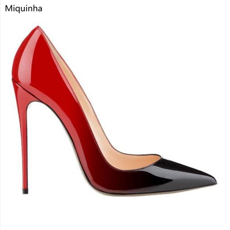 Donne Da Formato Tacchi Spillo Vestito Cerimonia Punta Verniciata Pic Modo Di Degradare As Delle Nuziale Scarpe Rosso Nero Più Partito Pelle A Classico Della Alti Toe X7wHg1