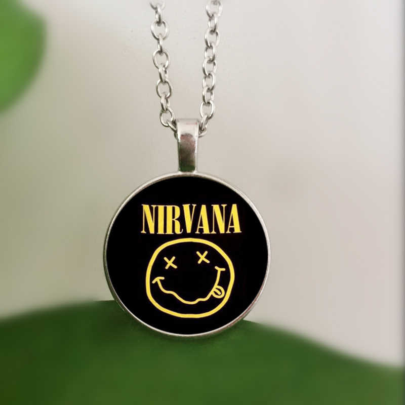 WUSQWSC rock band smile nirvana band crystal glass pendant necklace jewelry wholesale