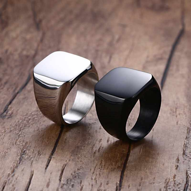 Fashion Stainless Steel Big Square Rings For Mens Silver-color Polished Signet Ring Biker Party Jewelry Dropshipping