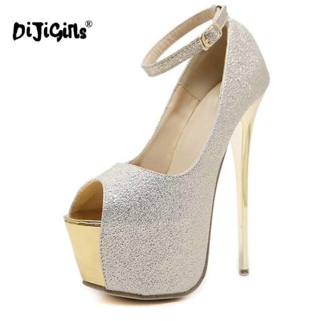 00dcfd863cc8 DIJIGIRLS Sequins Pumps Extreme High Heel Pumps Women Dress Party Shoes  Peep Toe Platform Pumps Shoes Gold Silver Black