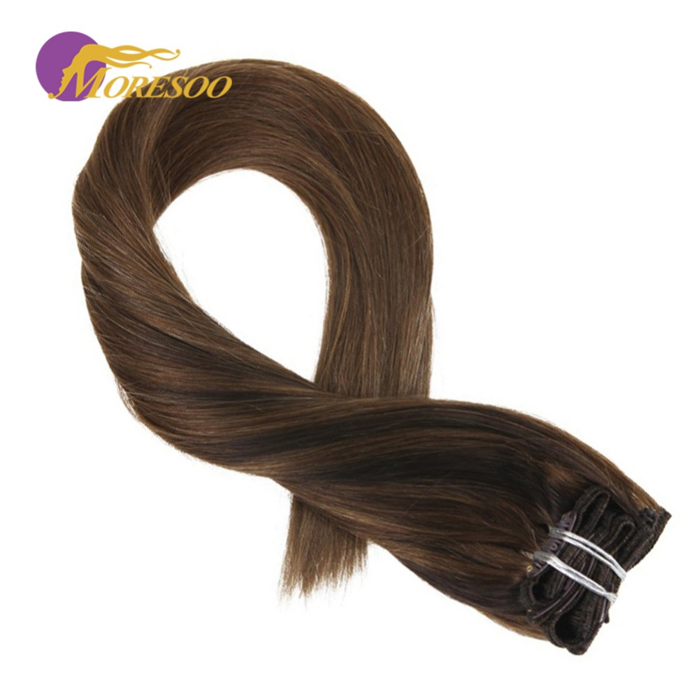Moresoo Clip In Human Hair Real Hair Clip In Extensions Color Darkest Brown #2 Fading To #8 Highlighted With #8 Brown 7Pcs/100G