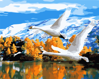 DIY Oil Painting Flying Wild Geese Paste Acrylic Paint Digital Painting Home Living Room Decoration Unique