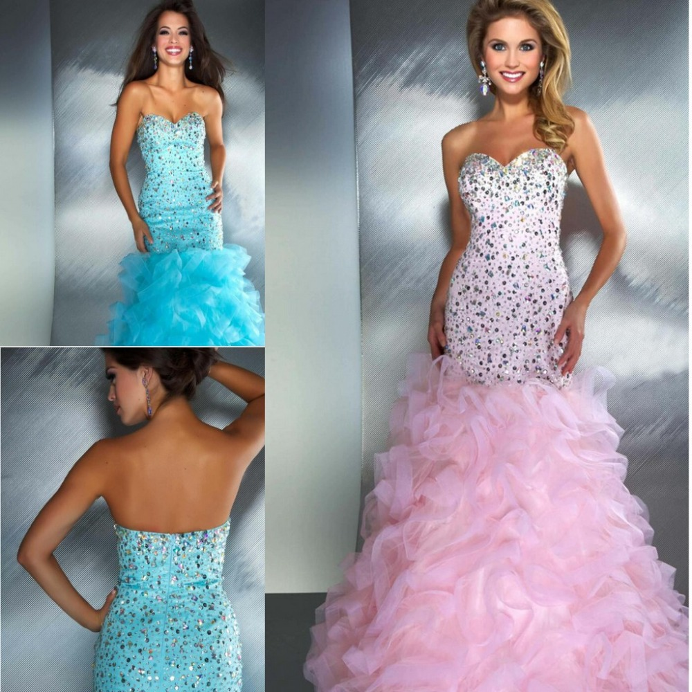 Elegant Royal Blue Pink Sparkly Prom Dresses Party Mermaid ...